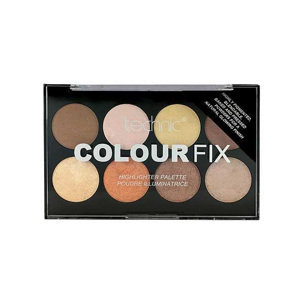 Paleta Profesionala cu 8 Iluminatoare Pudra TECHNIC Colour Fix Highlighter Palette, 15.6g