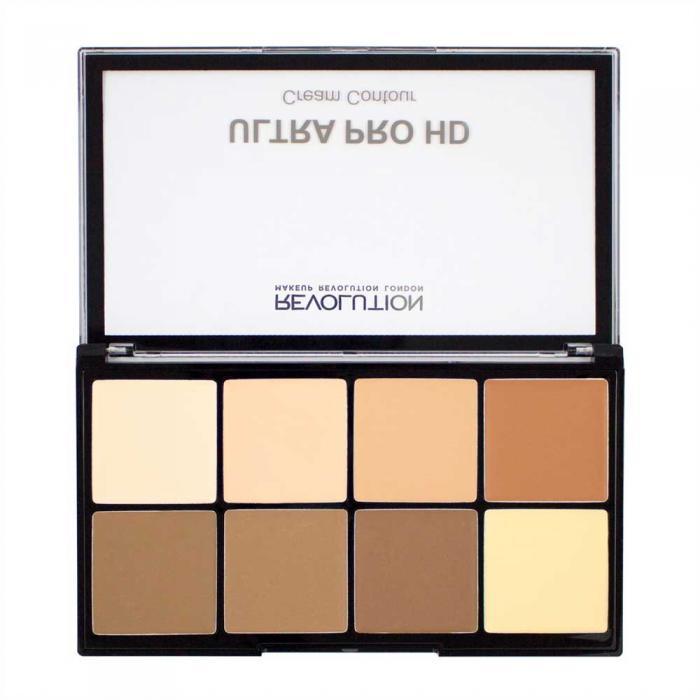 Paleta Makeup Revolution Hd Pro Cream Contour Cu 8 Corectoare Cremoase Pentru Conturare Light Medium 20g