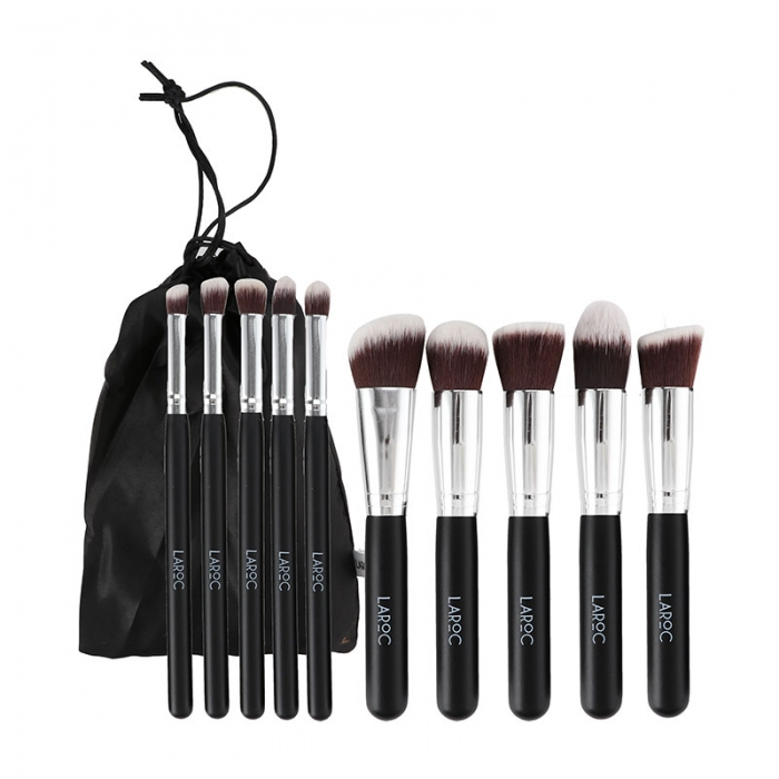 Set 10 Pensule Machiaj Profesionale Laroc Kabuki Brush Set