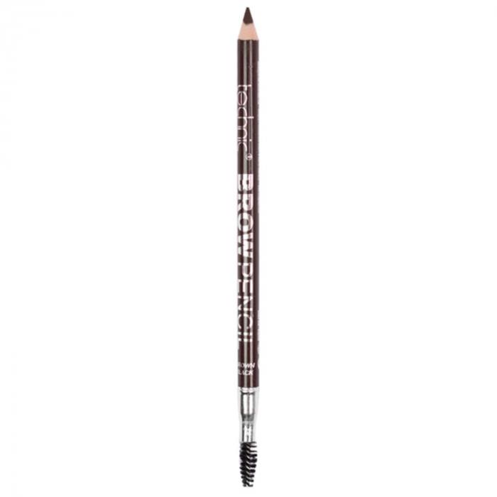 Creion de sprancene Technic Brow Pencil cu ascutitoare si periuta, Brown Black