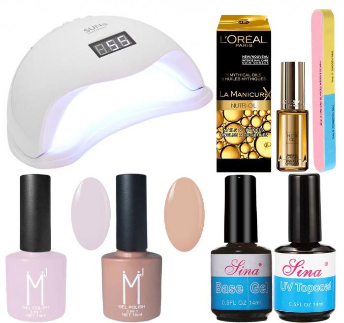 Kit Unghii cu Lampa Profesionala UV LED SUN5 si 6 Produse Premium pentru Manichiura Semipermanenta, Nude Pastels