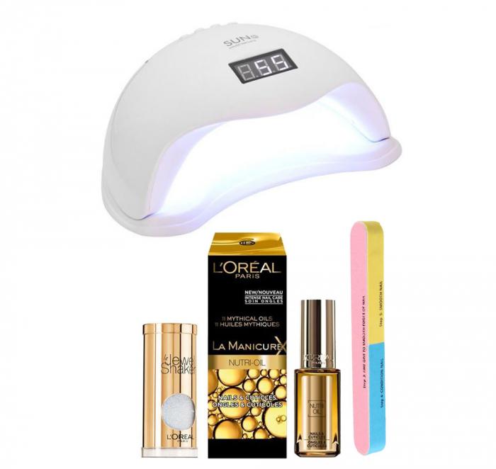 Set Lampa Profesionala Unghii Uv Led Sun5, 48 W Cu 2 Produse L Oreal Paris: Dispozitiv Glamour, Tratament Cuticule Si Pila 7 Fete