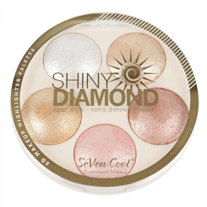 Paleta Profesionala Iluminatoare, Shiny Diamond 5 Color Highlighter Palette 3D, 15 g
