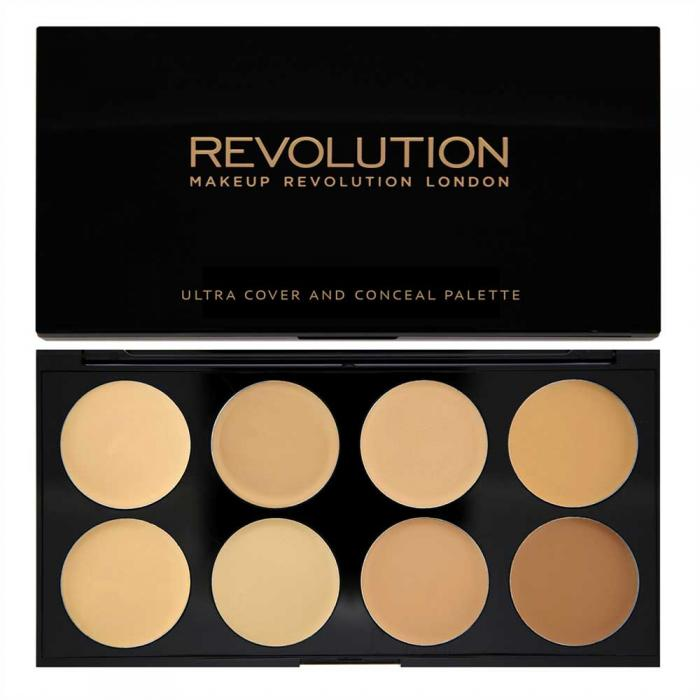 Paleta Makeup Revolution Cover And Conceal Ultra Professional Cu 8 Corectoare Cremoase Light Medium 10g