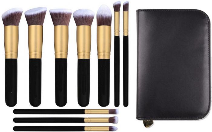 Set 10 Pensule Profesionale Top Quality Kabuki Cu Etui Gold Edition