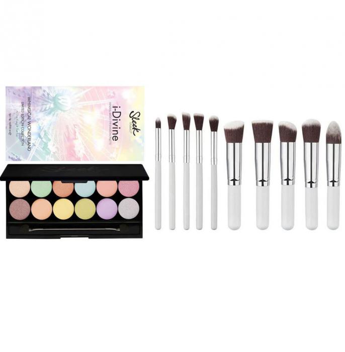Set Machiaj Profesional Cu Paleta Farduri Sleek Makeup I Divine Wonderland Si 10 Pensule Lilyz Snow White