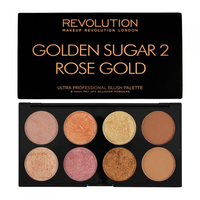 Paleta Cu 8 Blush Uri Makeup Revolution Ultra Blush Golden Sugar 2 Rose Gold