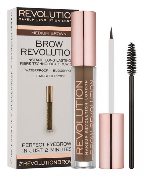 Gel Pentru Definirea Sprancenelor Makeup Revolution Brow Revolution Medium Brown 3.8 gr