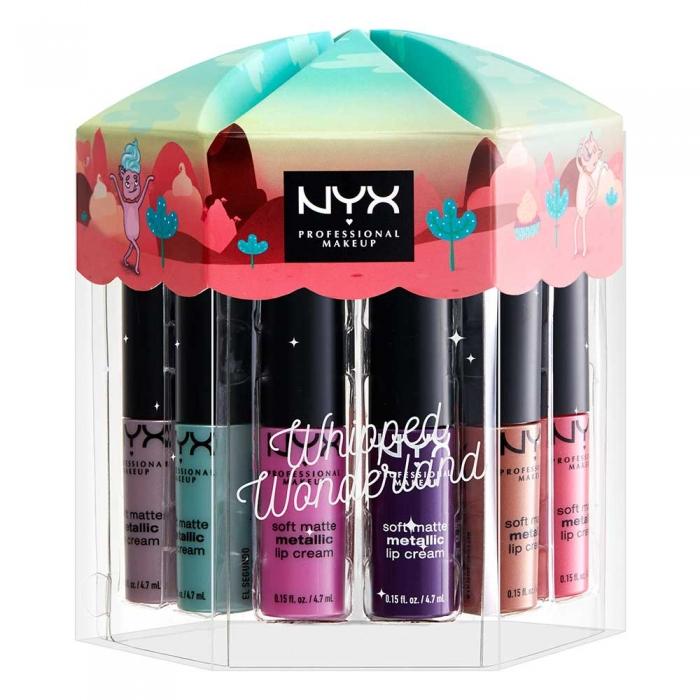Set Cadou NYX Whipped Wonderland Soft Matte Metallic Lip Cream 12 Rujuri Mate x 4.7 ml