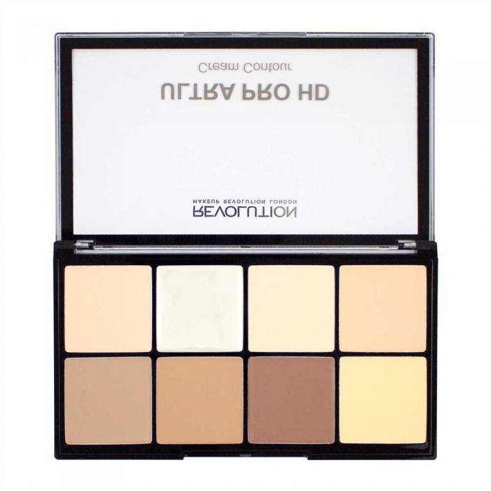 Paleta MAKEUP REVOLUTION HD Pro Cream Contour cu 8 Corectoare Cremoase Pentru Conturare Fair 20g