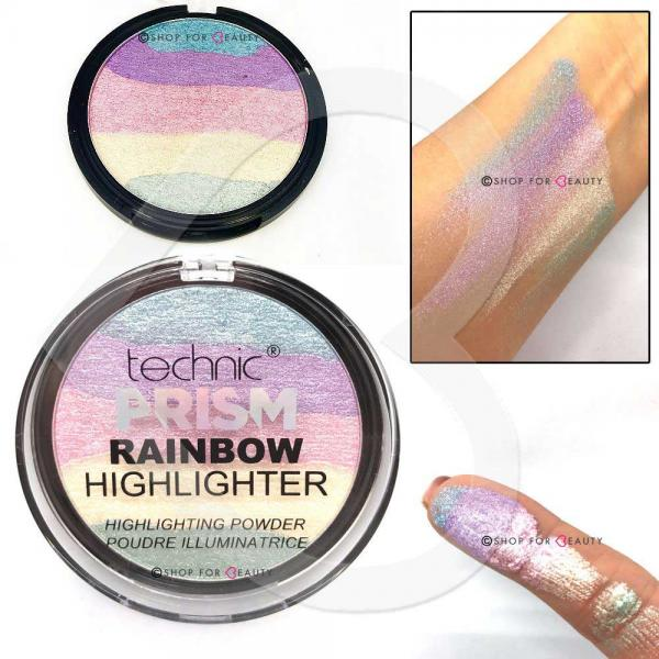 Paleta Iluminatoare Multicolora TECHNIC Prism Rainbow Highlighter Powder, 6g-big