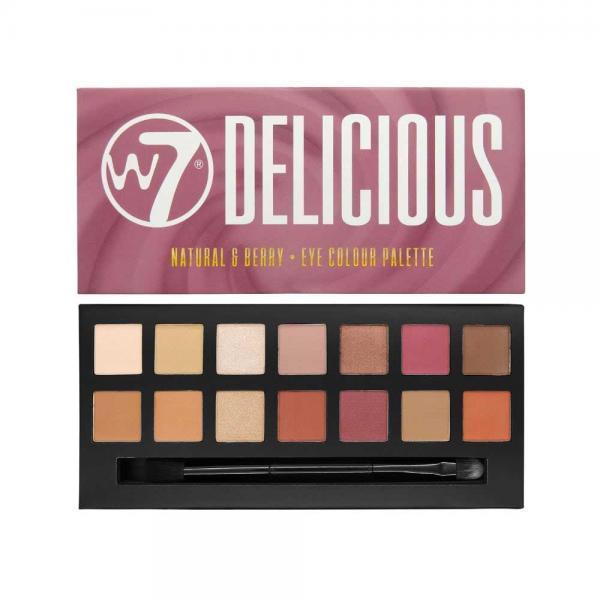 Paleta Profesionala de Farduri W7 Delicious 14pc Eye Colour Palette Natural Berry 11.2g