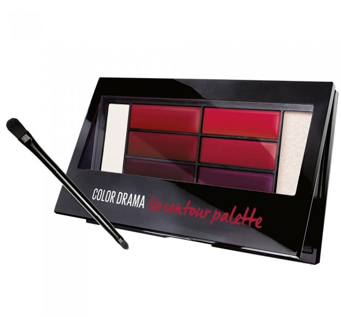 Paleta rujuri Maybelline New York Color Drama Lip Contour Palette 01 Crimson Vixen 4 g