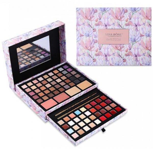 Trusa Profesionala pentru Machiaj Miss Rose Deluxe Shimmer Matte 85 culori Imperial Flowers