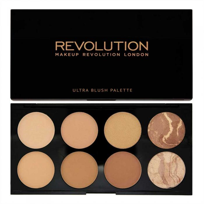 Trusa cu 8 Bronzere MAKEUP REVOLUTION Ultra Professional Bronze Palette pentru conturare si iluminare All about bronze 13g