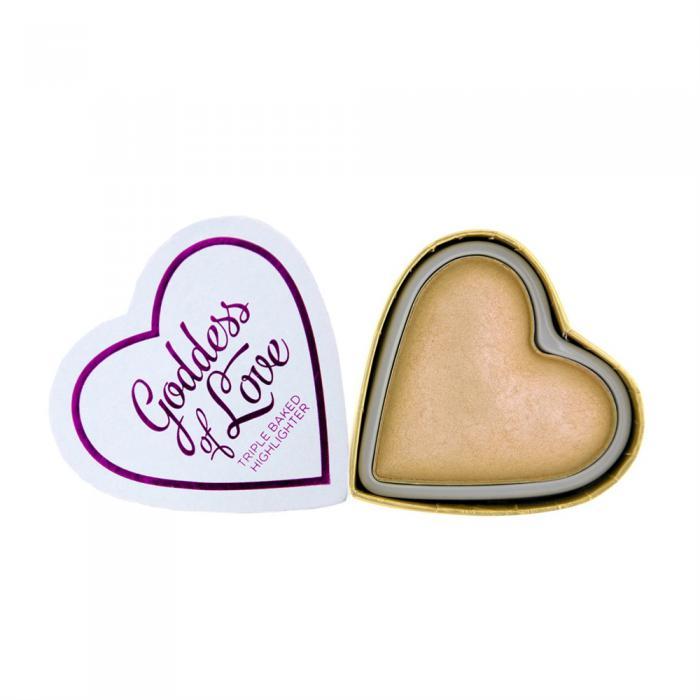 Iluminator Makeup Revolution I Heart Makeup Blushing Hearts Baked Highlighter Golden Goddess 10g