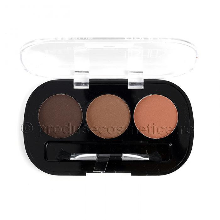 Kit de Sprancene Ushas EyeBrow cu 3 Pudre pentru Definire 02 Browns