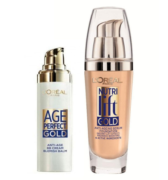 Set anti age L Oreal Paris Nutri Lift Gold cu BB Cream Fond de Ten 130 Warm Ivory 30ml x 25ml