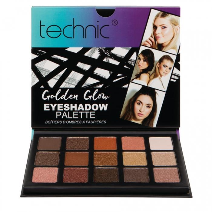 Paleta 15 Farduri Technic The Maine Edition Golden Glow Eyeshadow Palette