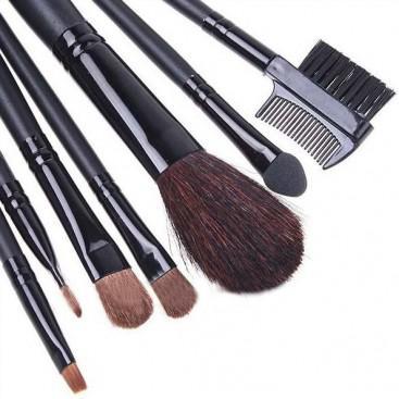 Set 7 Pensule Profesionale pentru machiaj - Silk Black
