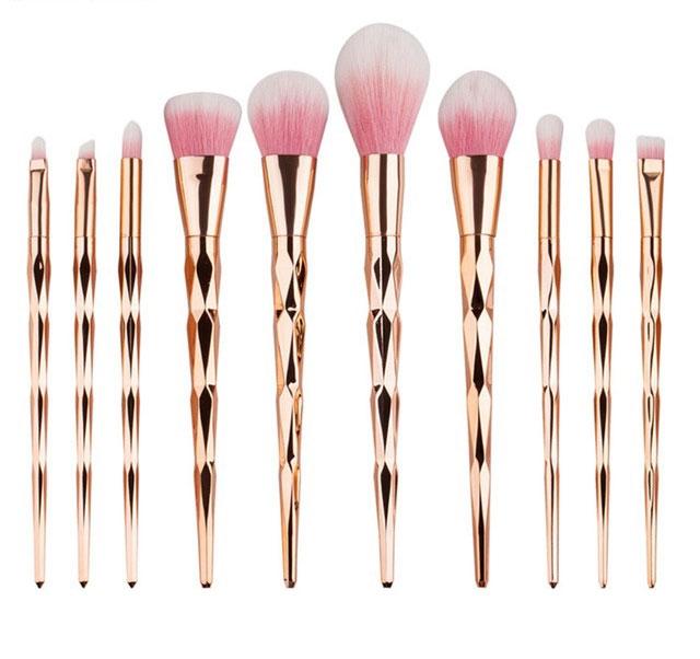 Trusa Profesionala Cu 10 Pensule De Machiaj Unicorn Diamond Rose Gold