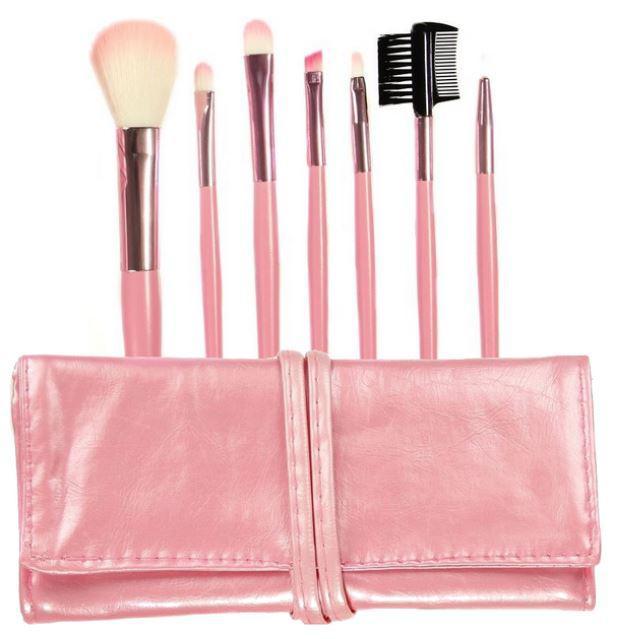 Set 7 Pensule Profesionale Luxury pentru Machiaj Pink Addicted