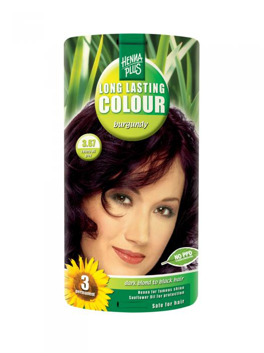 Vopsea de Par HennaPlus Long Lasting Colour Burgundy 3.67