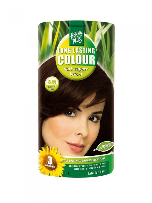 Vopsea de Par HennaPlus Long Lasting Colour Dark Cooper Brown 3.44