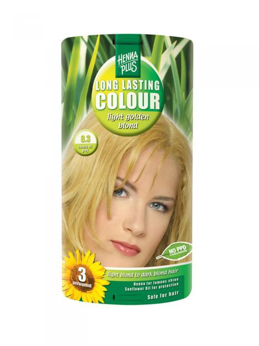 Vopsea de Par HennaPlus Long Lasting Colour - Light Golden Blond 8.3