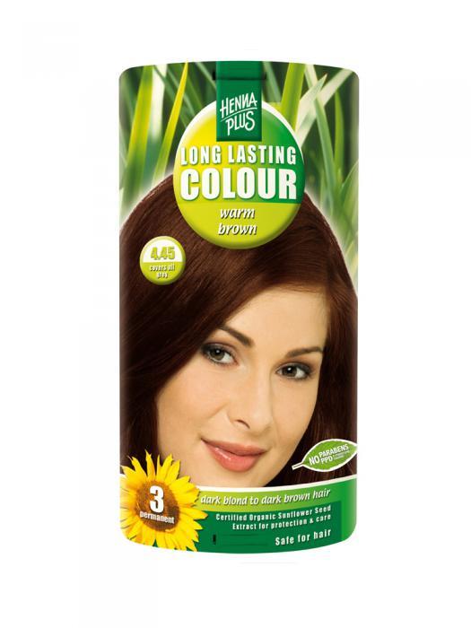 Vopsea de Par HennaPlus Long Lasting Colour Warm Brown 4.45