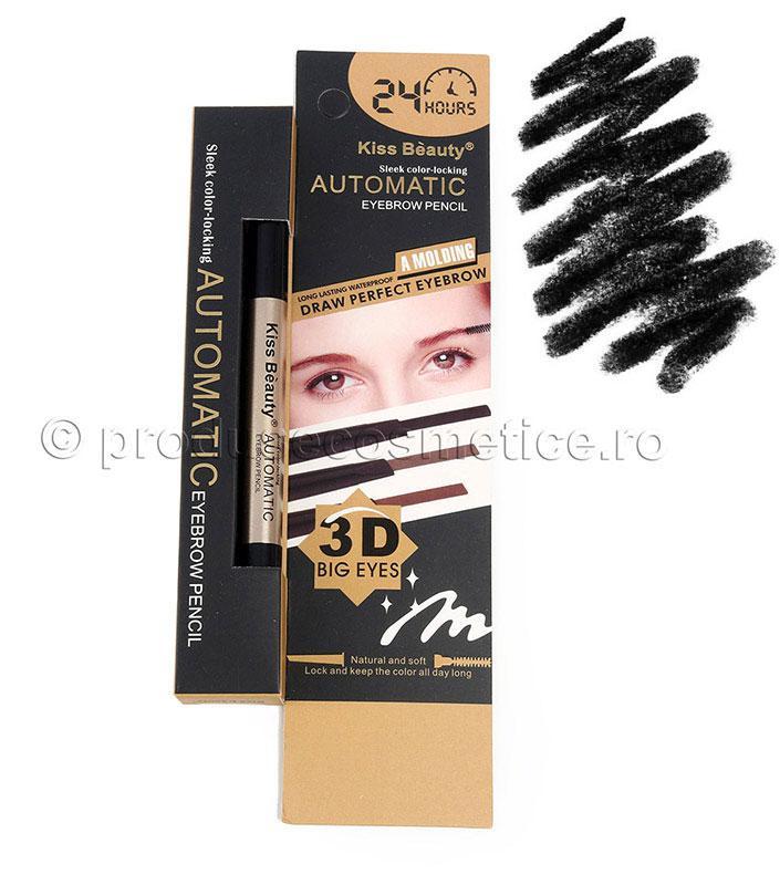 Creion De Sprancene Automat 3d Kiss Beauty - 04 Black