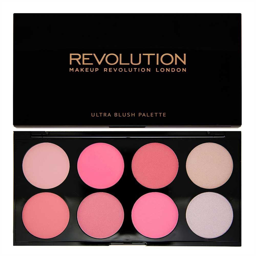 Trusa cu 8 Blushuri MAKEUP REVOLUTION Ultra Professional Blush Palette pentru conturare si iluminare All About Pink 13g