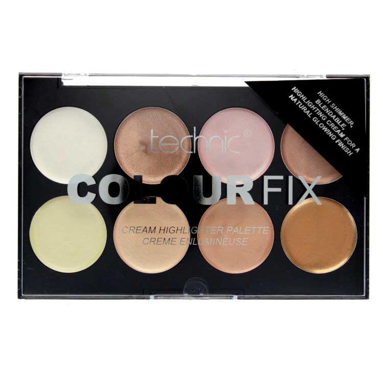 Paleta Profesionala cu 8 Iluminatoare Crema TECHNIC Colour Fix Highlighter Palette 16g