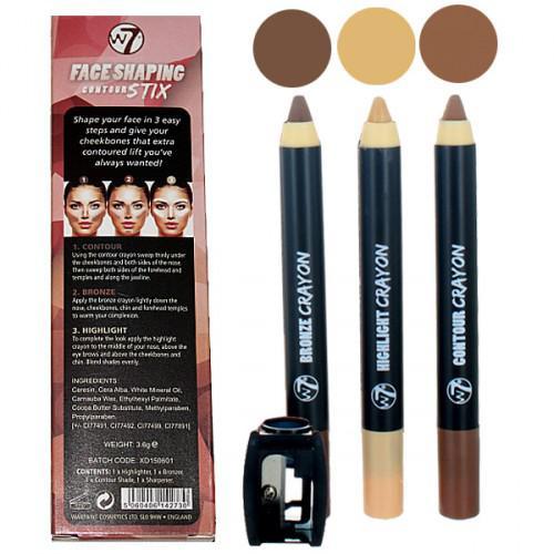 Kit 3 Creioane Pentru Contur Si Iluminare W7 Face Shaping Contour Stix