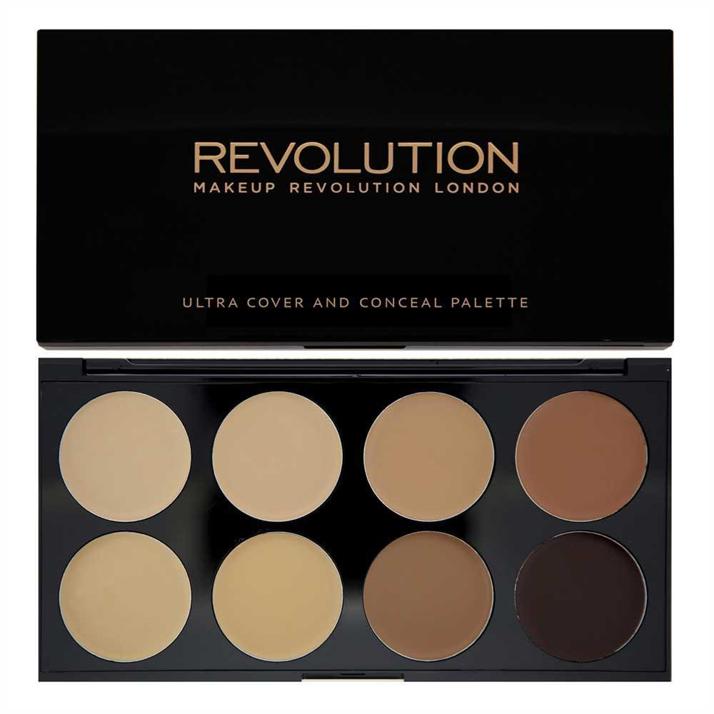 Paleta MAKEUP REVOLUTION Cover and Conceal Ultra Professional cu 8 Corectoare Cremoase Medium Dark 10g